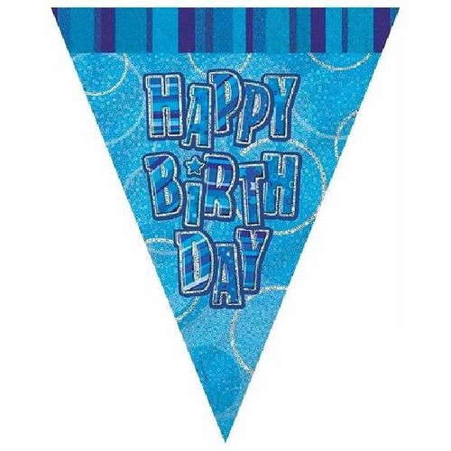 Happy Birthday Blue Glitz 3.6M Flag Banner