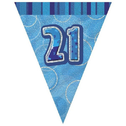 21st Birthday Blue Glitz 3.6M Flag Banner