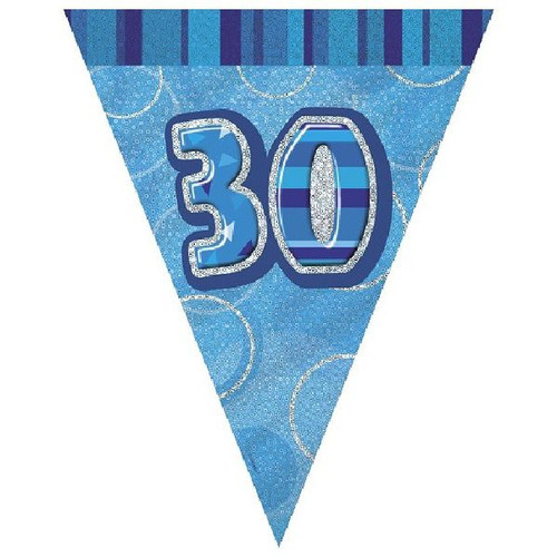 30th Birthday Blue Glitz 3.6M Flag Banner