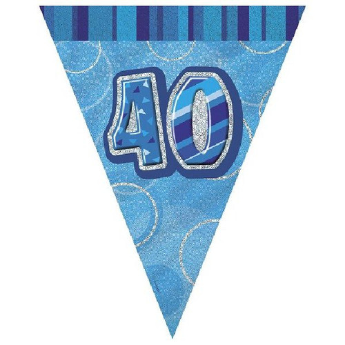 40th Birthday Blue Glitz 3.6M Flag Banner