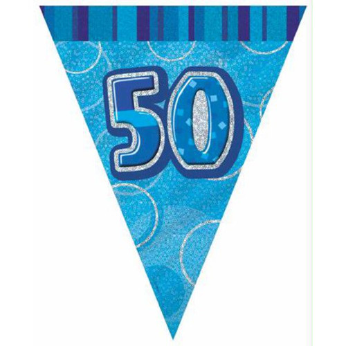 50th Birthday Blue Glitz 3.6M Flag Banner