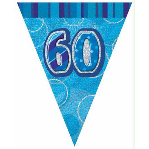 60th Birthday Blue Glitz 3.6M Flag Banner