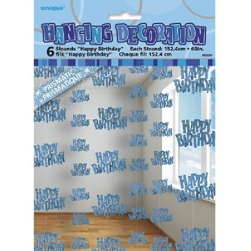 Happy Birthday Blue Glitz Hanging Decoration