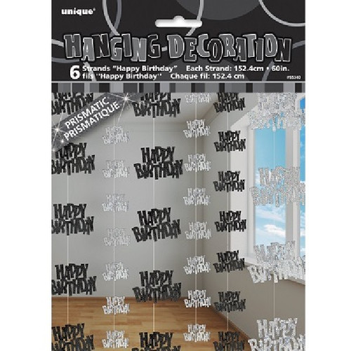 Happy Birthday Black Glitz Hanging Decoration