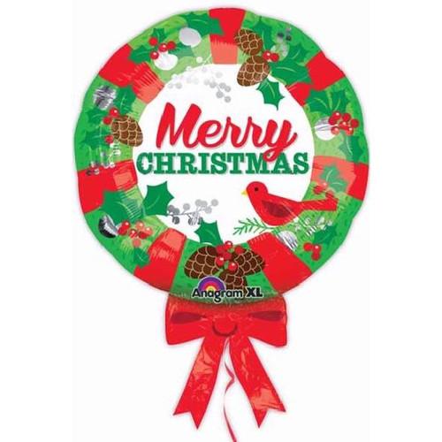 "28"" Xmas Wreath Supershape Foil Balloon"