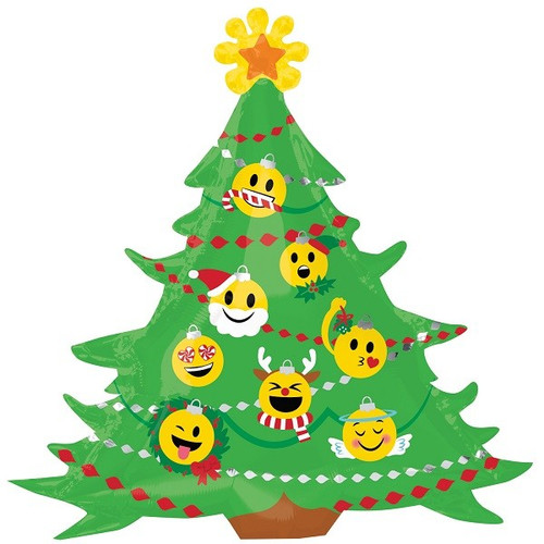 Emoji Xmas Tree Supershape Foil Balloon