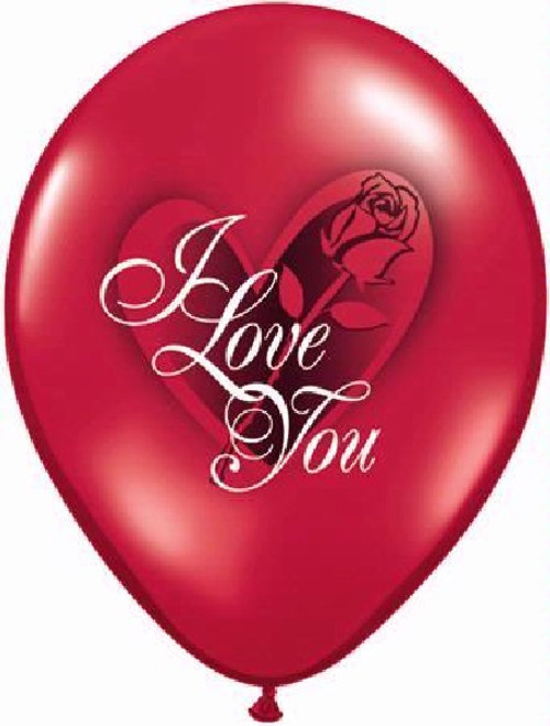 "6PK Qualatex 11"" I Love You Rose Balloon"