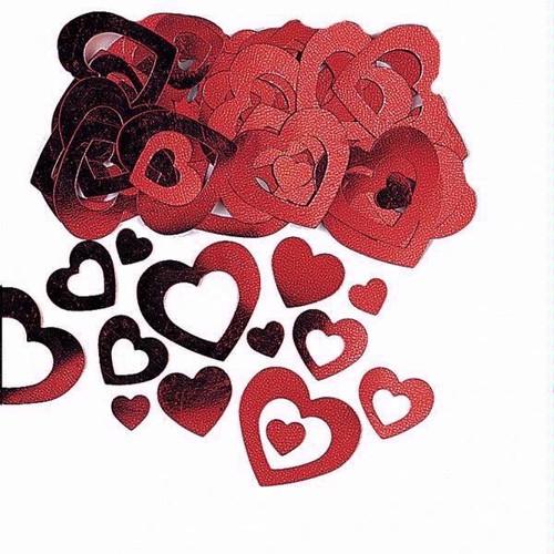 14g Red Hollow Hearts Foil Confetti