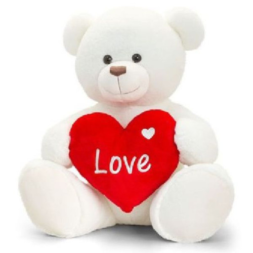 35cm Cream Rufus Bear With Heart