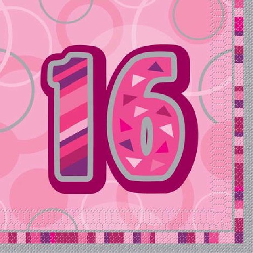 16th Birthday Pink Glitz Napkins