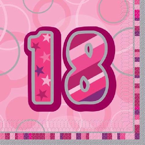 18th Birthday Pink Glitz Napkins