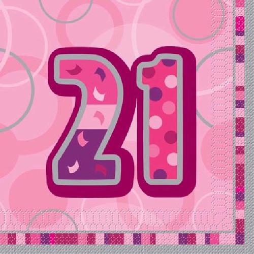 21st Birthday Pink Glitz Napkins