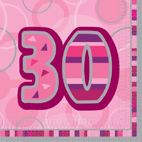 30th Birthday Pink Glitz Napkins