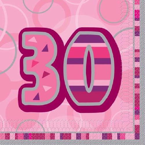 30th Birthday Pink Glitz Napkins