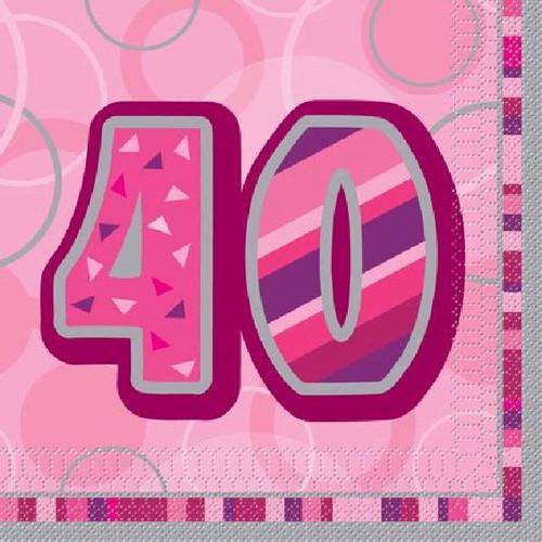 40th Birthday Pink Glitz Napkins