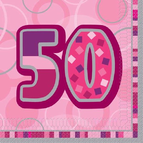 50th Birthday Pink Glitz Napkins