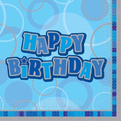 Happy Birthday Blue Glitz Napkins