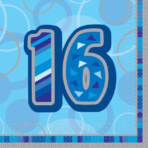 16th Birthday Blue Glitz Napkins
