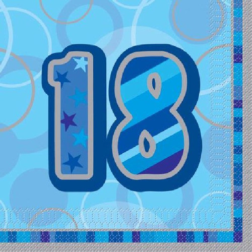 18th Birthday Blue Glitz Napkins