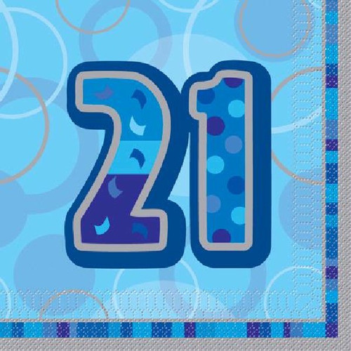 21st Birthday Blue Glitz Napkins