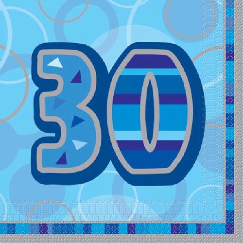 30th Birthday Blue Glitz Napkins