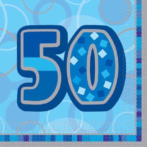 50th Birthday Blue Glitz Napkins