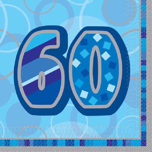 60th Birthday Blue Glitz Napkins