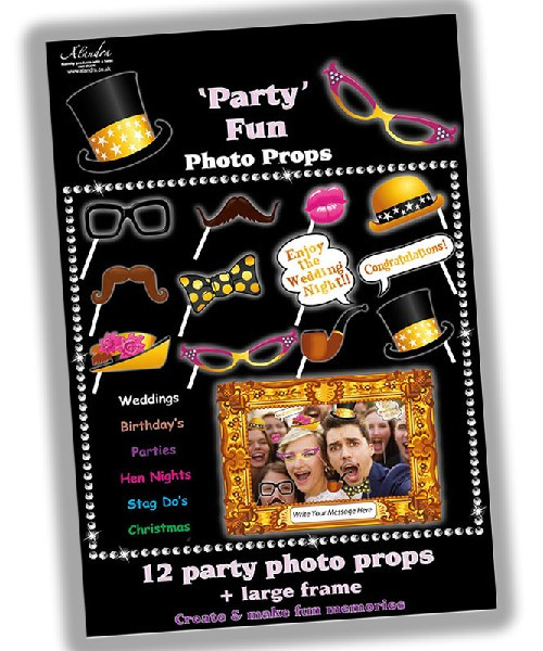 12 Party Photo Props & Frame