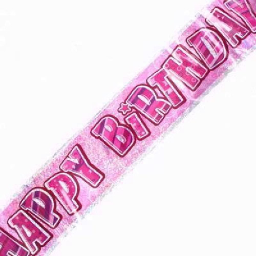 Happy Birthday Pink Glitz 9ft Wall Banner