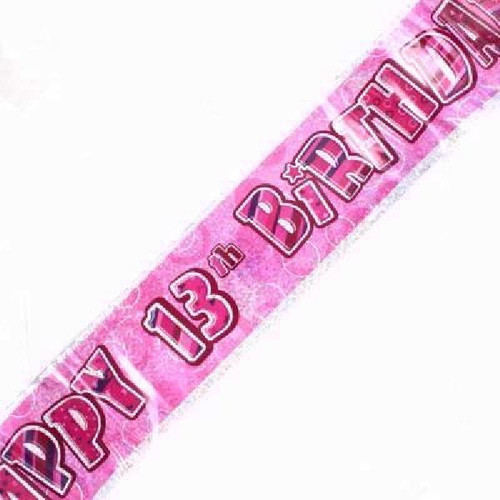 13th Birthday Pink Glitz 9ft Wall Banner