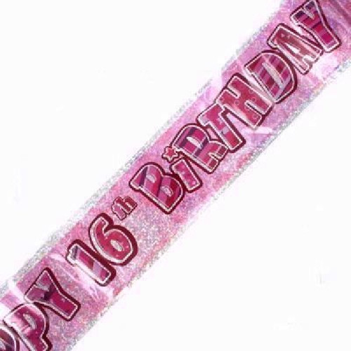 16th Birthday Pink Glitz 9ft Wall Banner