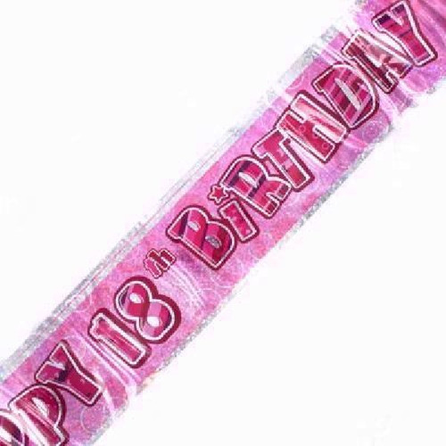 18th Birthday Pink Glitz 9ft Wall Banner