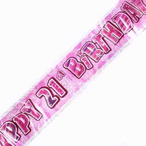 21st Birthday Pink Glitz 9ft Wall Banner