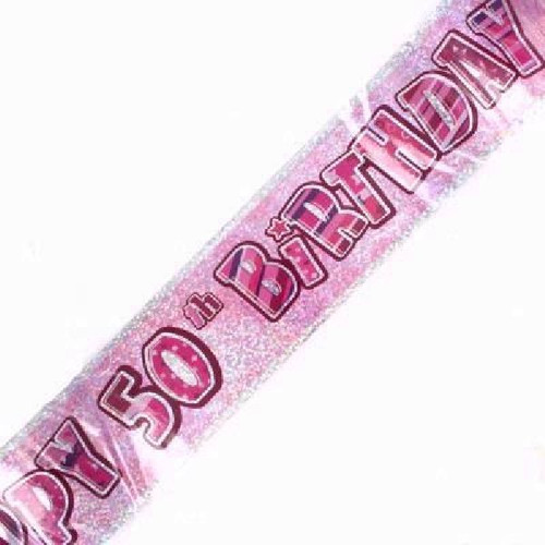 50th Birthday Pink Glitz 9ft Wall Banner