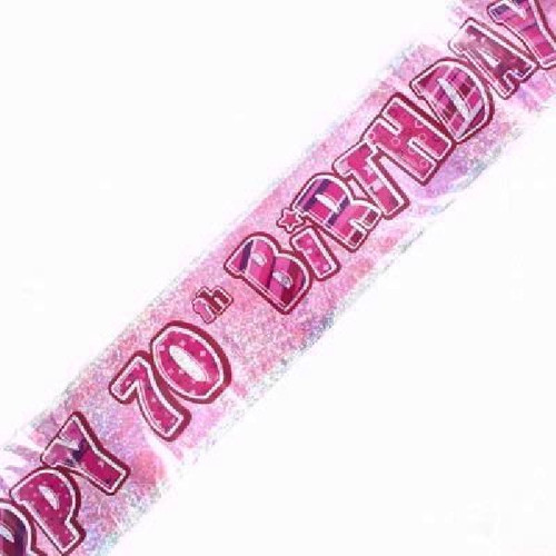 70th Birthday Pink Glitz 9ft Wall Banner