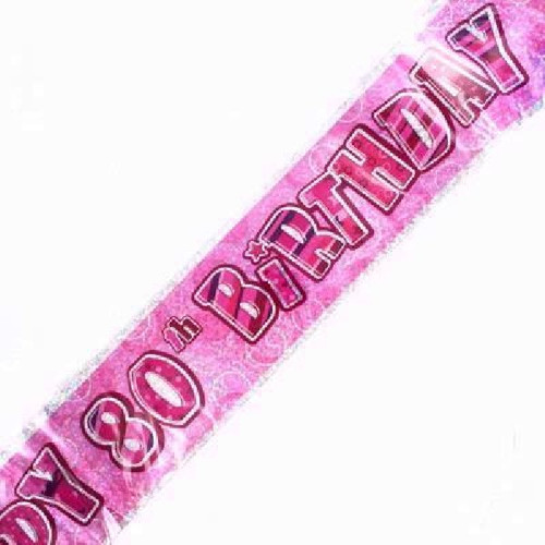 80th Birthday Pink Glitz 9ft Wall Banner