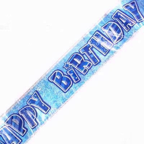 Happy Birthday Blue Glitz 9ft Wall Banner