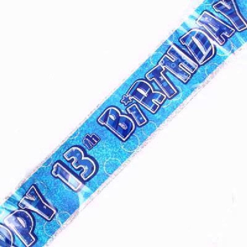 13th Birthday Blue Glitz 9ft Wall Banner