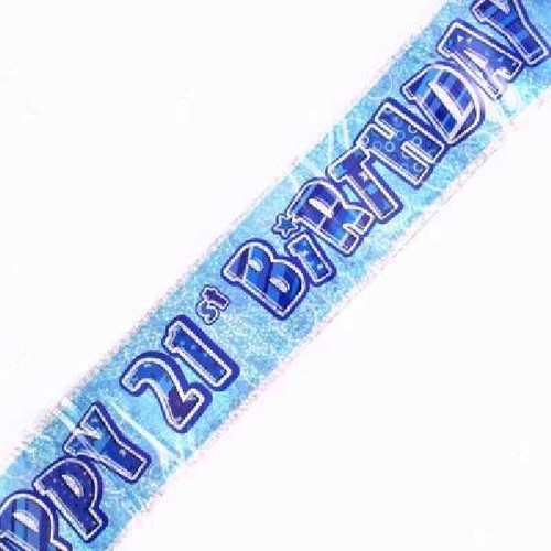21st Birthday Blue Glitz 9ft Wall Banner