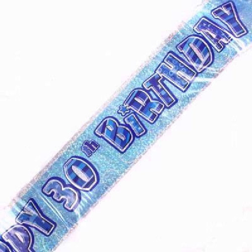 30th Birthday Blue Glitz 9ft Wall Banner