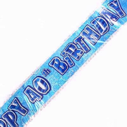 40th Birthday Blue Glitz 9ft Wall Banner
