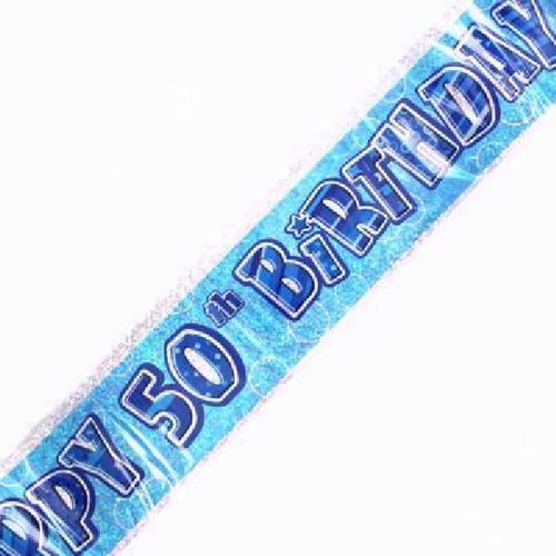 50th Birthday Blue Glitz 9ft Wall Banner