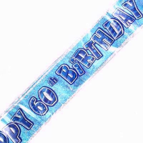 60th Birthday Blue Glitz 9ft Wall Banner