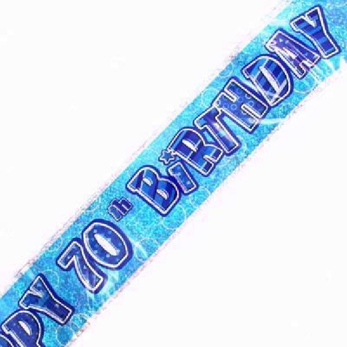 70th Birthday Blue Glitz 9ft Wall Banner