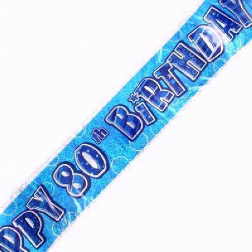 80th Birthday Blue Glitz 9ft Wall Banner