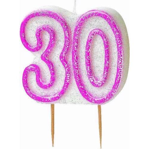 30th Birthday Pink Glitz Candle