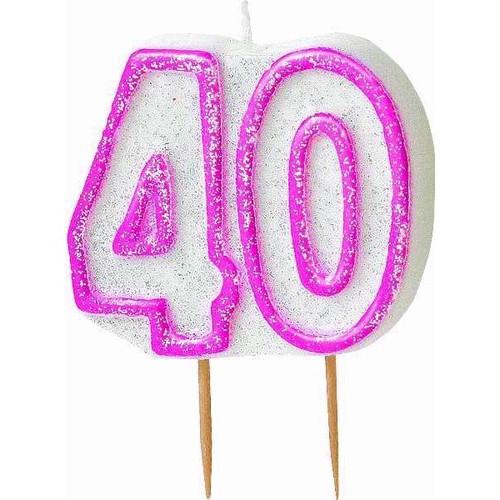 40th Birthday Pink Glitz Candle