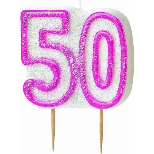 50th Birthday Pink Glitz Candle