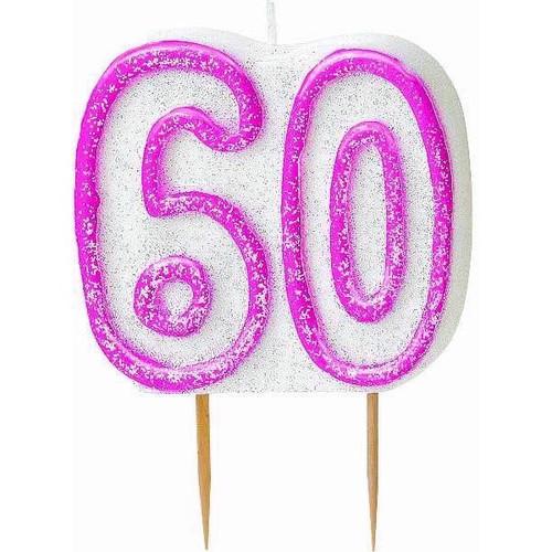 60th Birthday Pink Glitz Candle