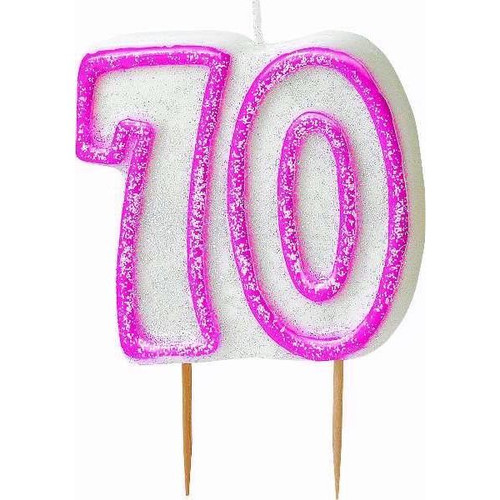 70th Birthday Pink Glitz Candle